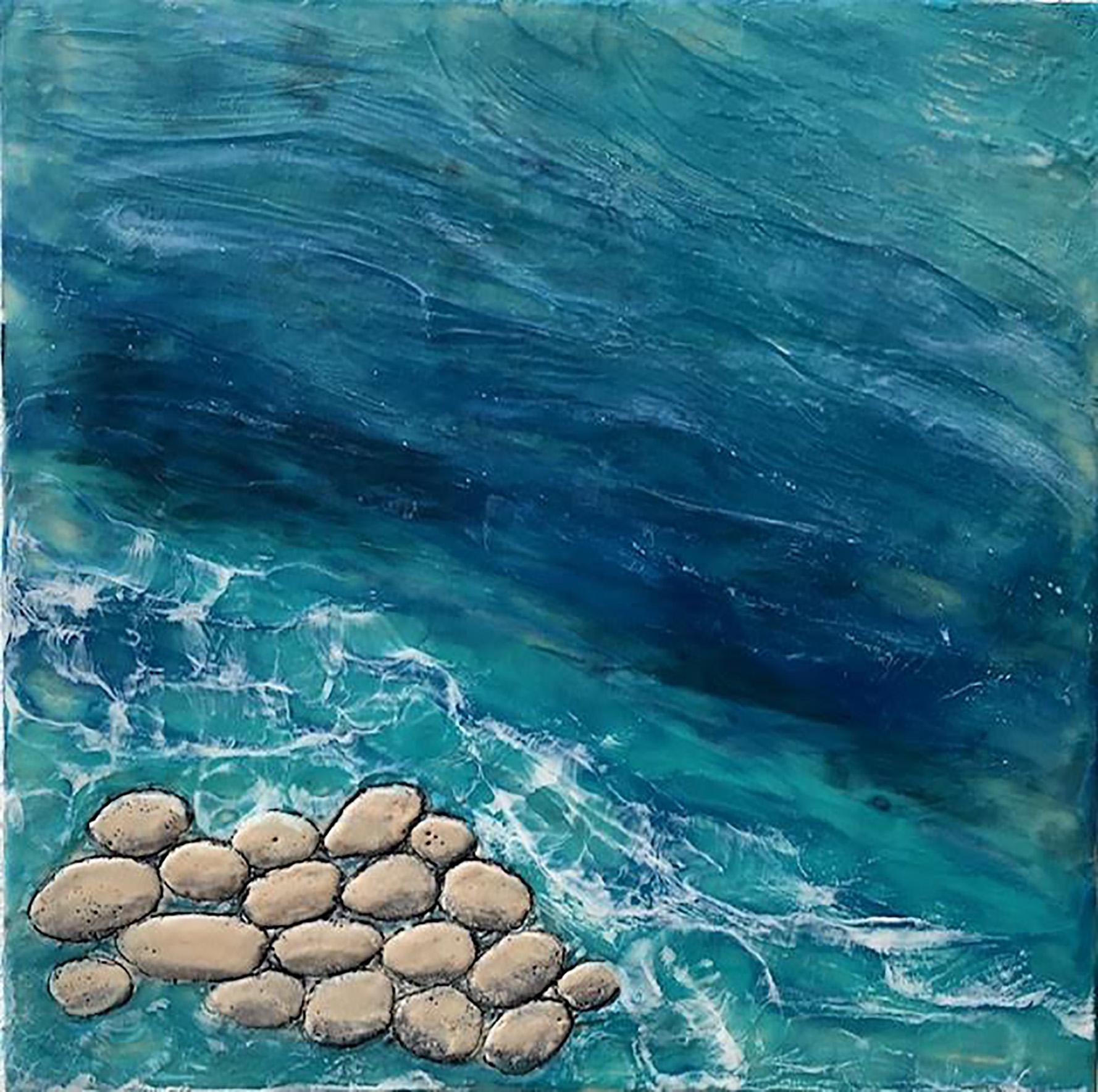 2pm - Relaxing Abstract Beach Ocean Scene w/ Rocks + Waves in Blue + Teal + Grey