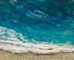 4pm - Relaxing Abstract Beach Scene w/ Sand and Waves in Blue + Teal + Beige