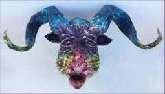 Midnight - Majestic Sculpture of Mongolian Animal, Altai Argali in Rainbow Color