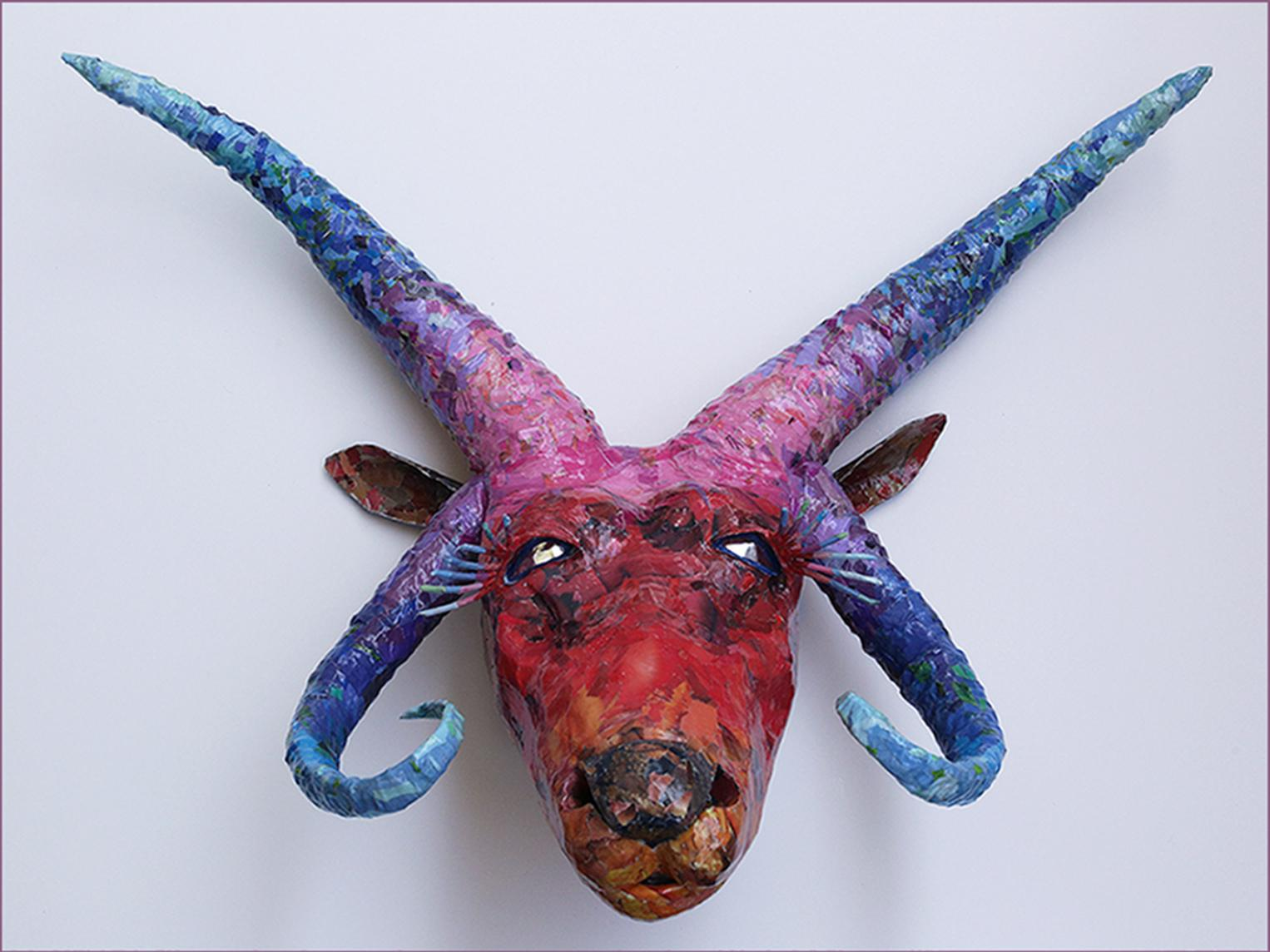 Manx - Colorful & Playful Sculpture of Endangered Animal Species in Purple + Red