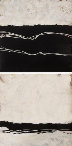 Endeavor Diptych - Two Toned Expressionist Acrylic Paintings Black and Cream