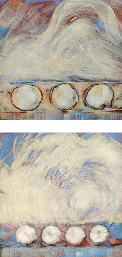Three Four Diptych - Geometric Gestural Contemporary Abstract Painting in Pastel