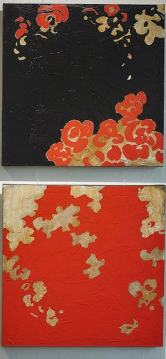 Garden Diptych - Floral Gestural Contemporary Abstract Painting in Black + Red