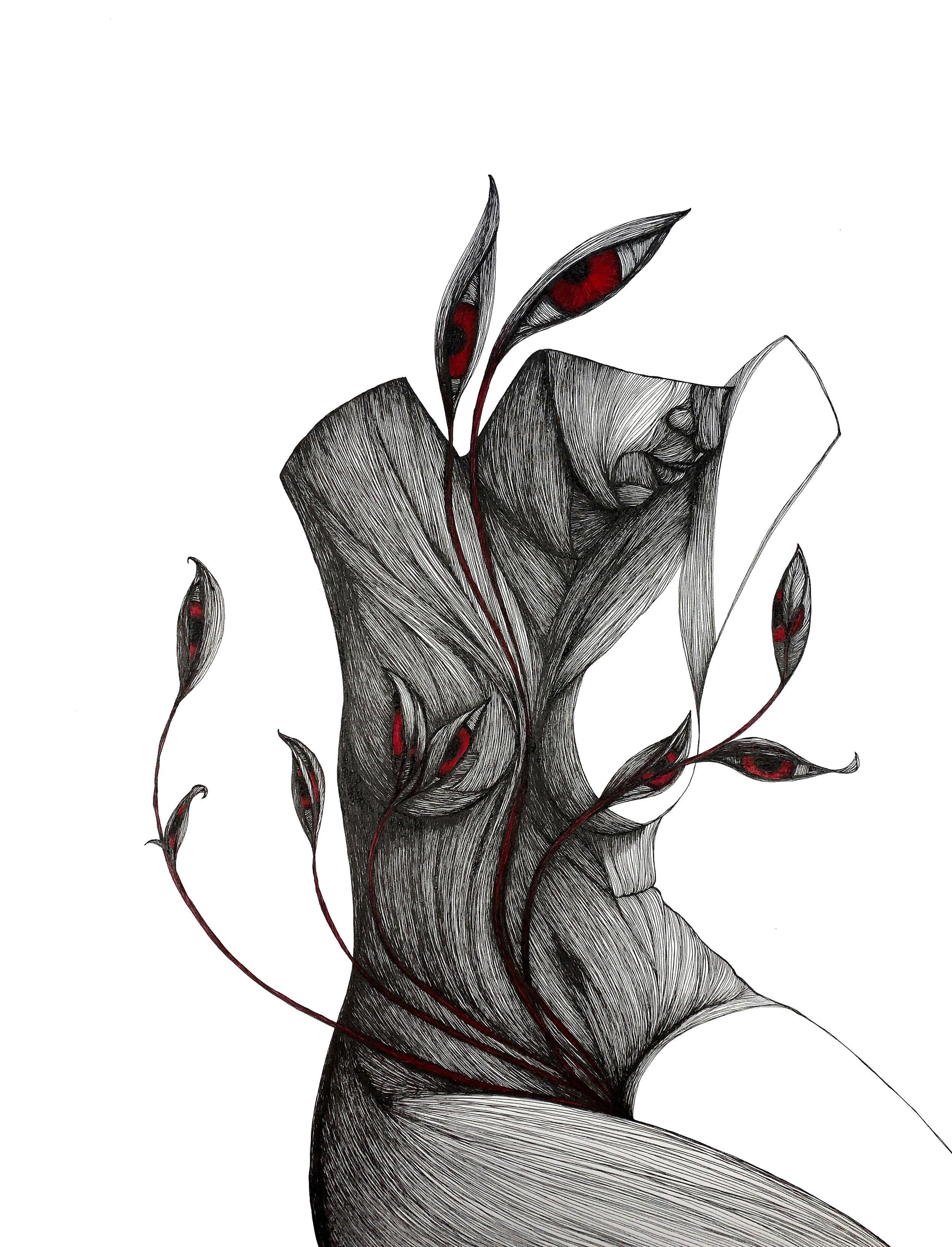 Mother - Pen, Ink, Black White Contemporary Surrealistic Drawing of Female Form