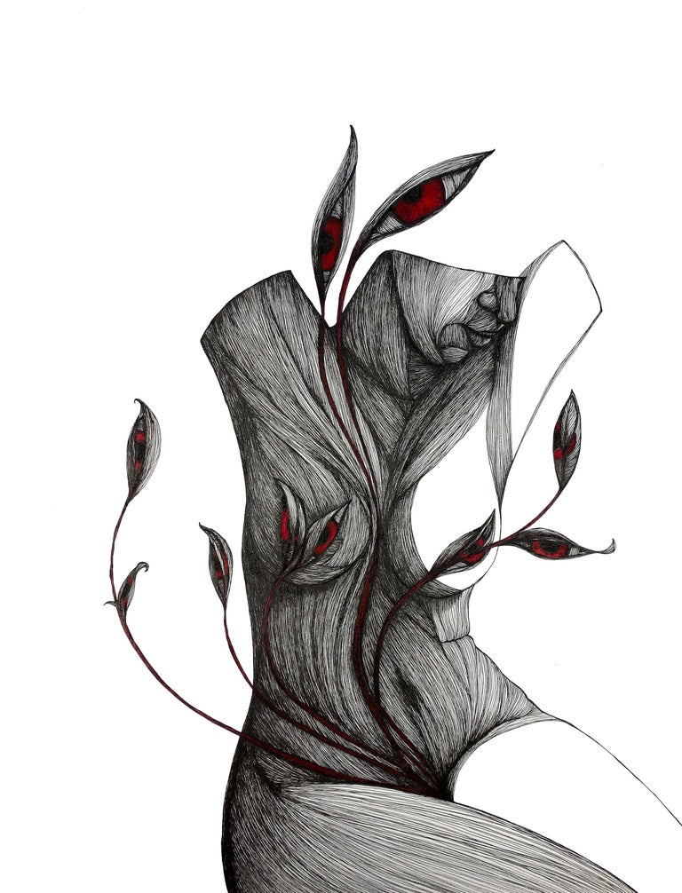 Katherine Filice Portrait - Mother - Pen, Ink, Black White Contemporary Surrealistic Drawing of Female Form