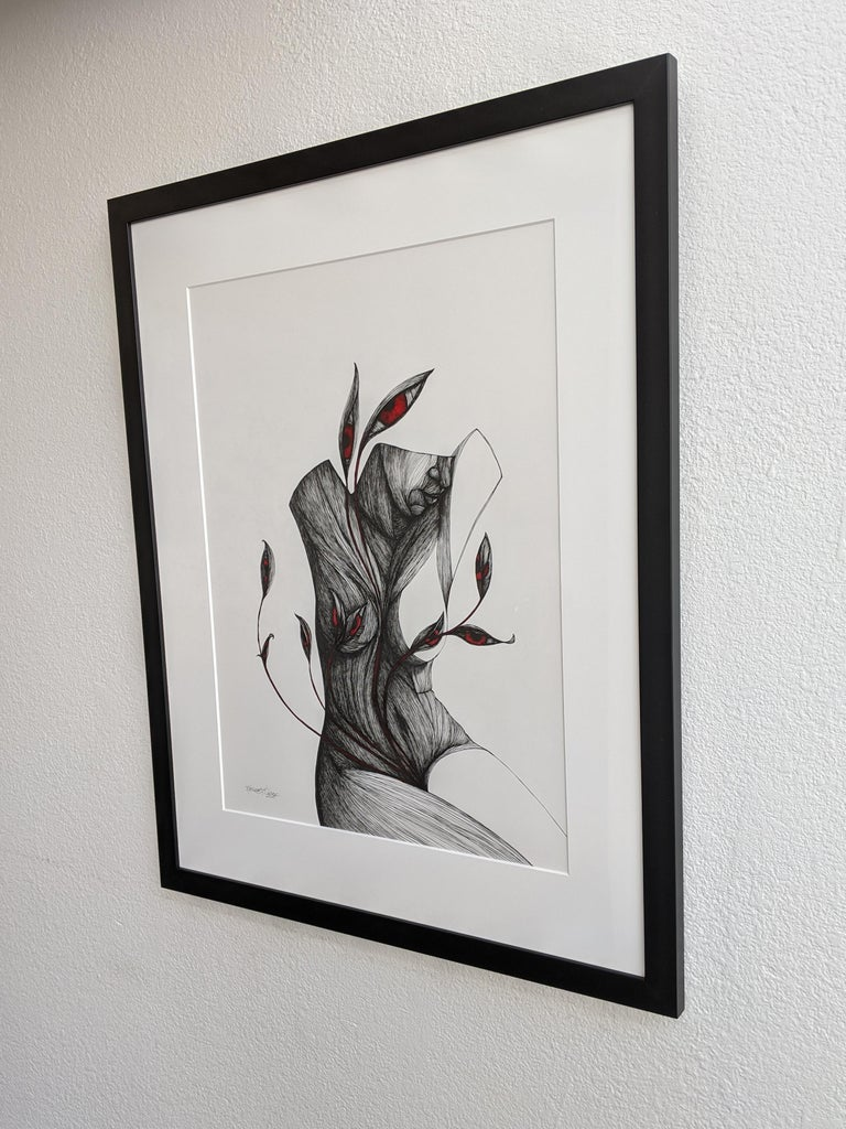 Mother - Pen, Ink, Black White Contemporary Surrealistic Drawing of Female Form For Sale 1