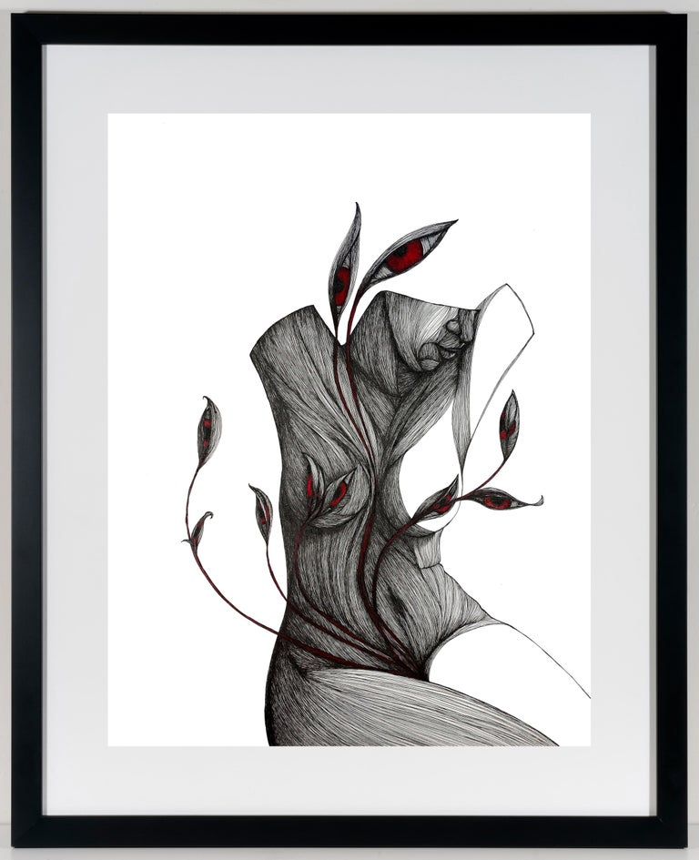 Mother - Pen, Ink, Black White Contemporary Surrealistic Drawing of Female Form - Art by Katherine Filice