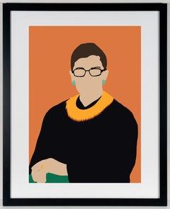 RGB- Contemporary Portrait of Ruth Bader Ginsberg Supreme Court Judge in Orange