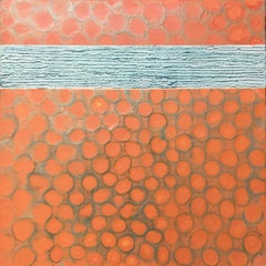 Giggle - Colorful Contemporary Abstract Encaustic Painting w/ Iridescent Orange