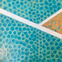 Puddle Stomper - Colorful Contemporary Abstract Work in Teal + Aqua + Orange Sea