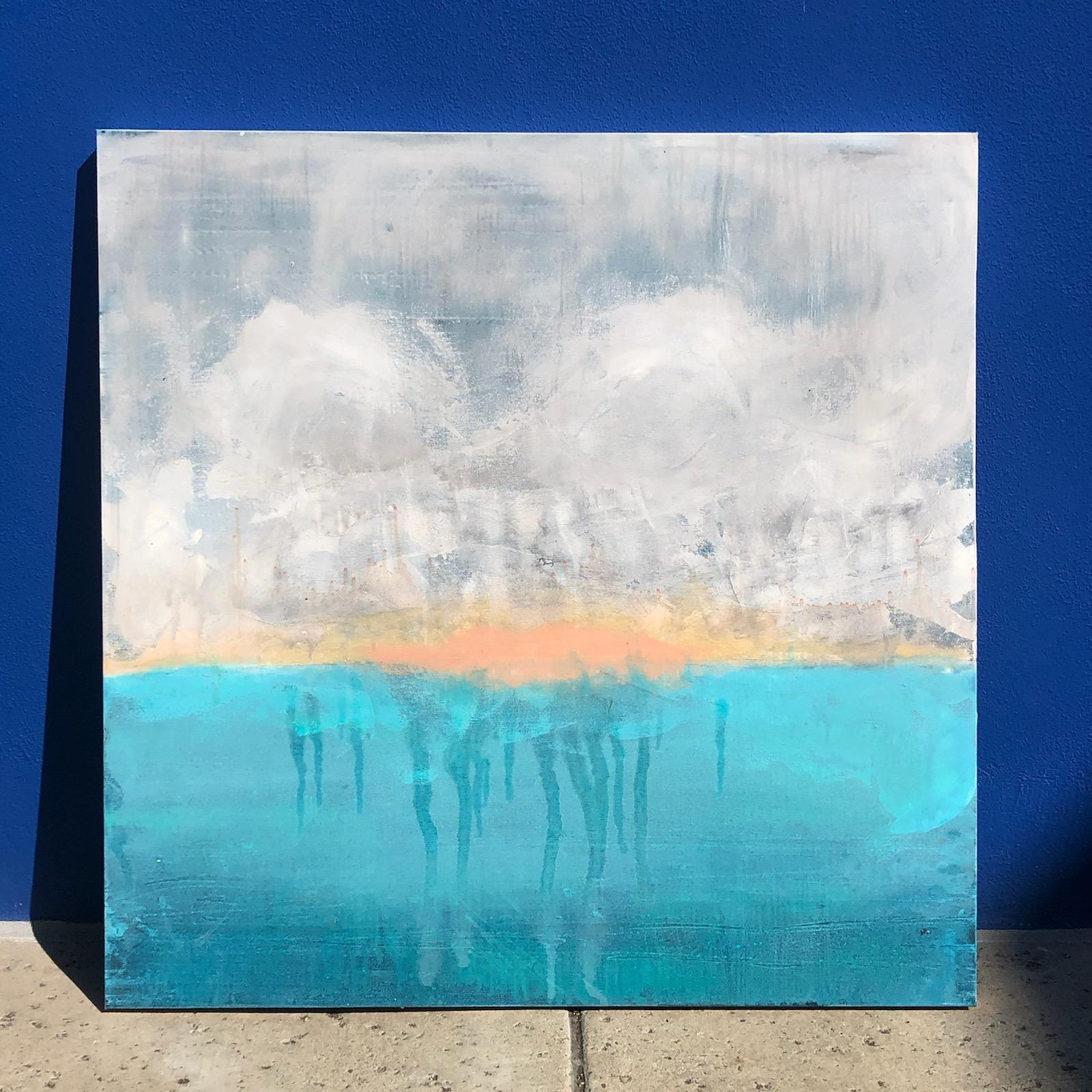 Undertow - Contemporary Abstract Landscape Painting of Ocean Beach  Grey + BLUE