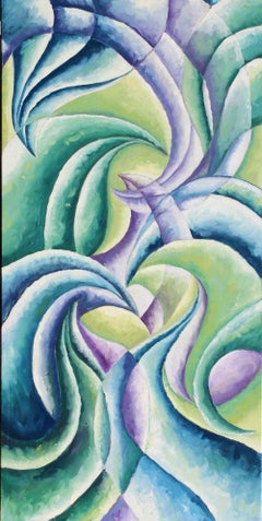 """""""Good Conversation""""  - Colorful Abstract Oil Painting Blue + Green + Purple"""