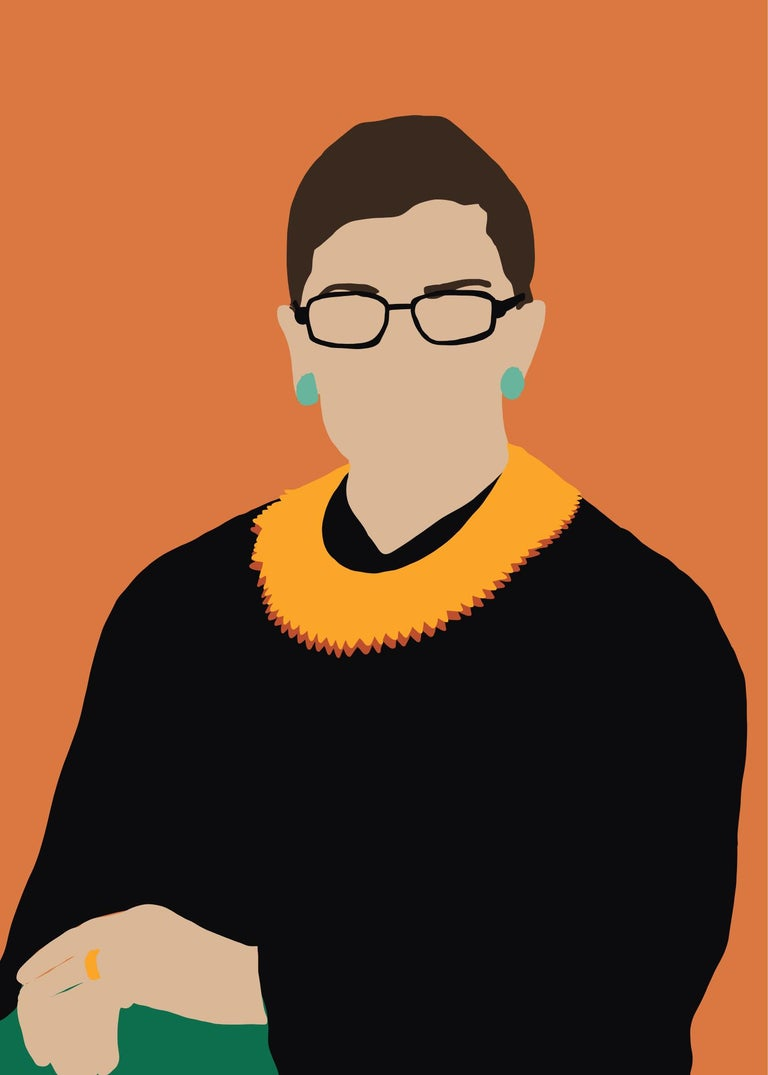 RGB- Framed Contemporary Portrait of Ruth Bader Ginsberg Supreme Court Judge  - Print by Samantha Viotty
