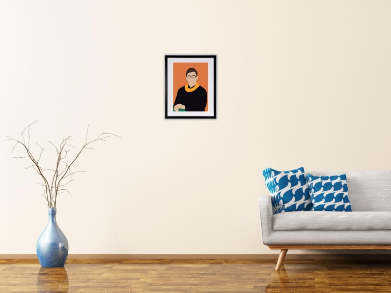 RGB- Framed Contemporary Portrait of Ruth Bader Ginsberg Supreme Court Judge  - Beige Portrait Print by Samantha Viotty