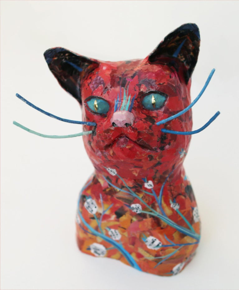 Yulia Shtern Figurative Sculpture - Forest Cat - Playful Animal Sculpture in Red + Blue + Black