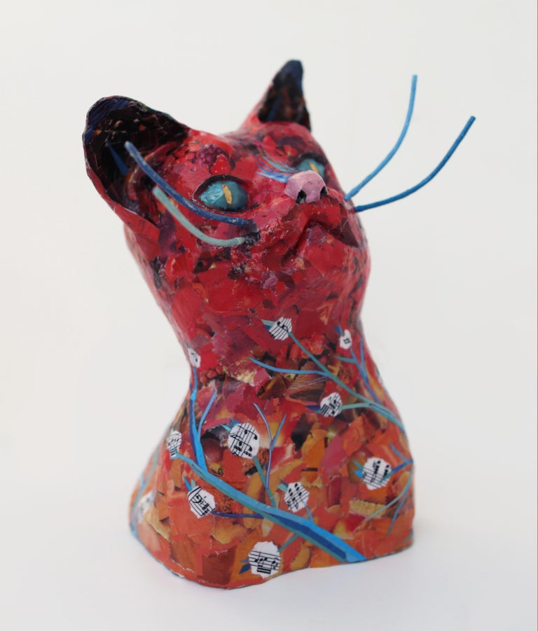 Forest Cat - Playful Animal Sculpture in Red + Blue + Black - Gray Figurative Sculpture by Yulia Shtern