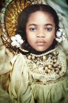 Our Worth > Cotton & Gold- Contemporary Portrait Photograph of Young Black Girl