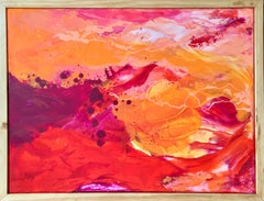 Fire Sky- Impasto Abstract Gestural Contemporary Painting in Orange + Red Framed