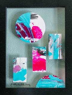 Portholes 5- Colorful Abstract Collage Painting