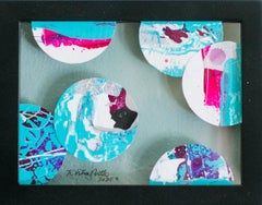 Portholes 3- Colorful Abstract Collage Painting