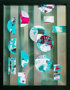 Portholes 2- Colorful Abstract Collage Painting