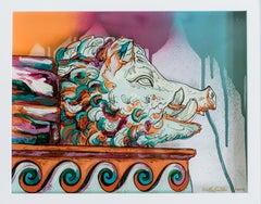 Cinghiale- Reverse Glass Greek Mythology Painting of Italian Pig Sculpture