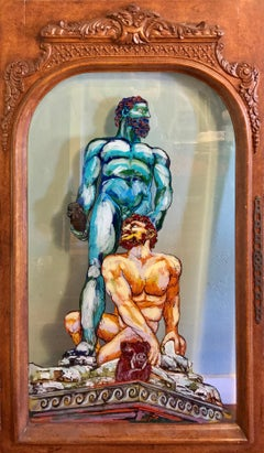 Hercules and Cacus- Greek Surrealistic Mythological Painting