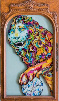 Medici - Greek Painting of Lion on Vintage Glass / Antique Door - Vibrant Colors