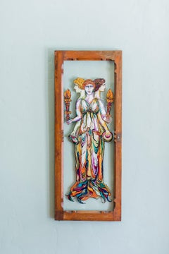 Hecate: Goddess at a Crossroads- Painting on Vintage Wood Window of Greek Goddes