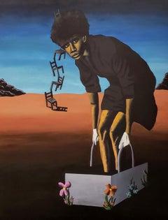 Very Stable Genius - Surreal Painting - Figurative Work in Orange + Blue + Black