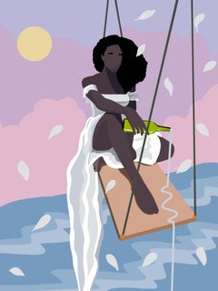 Giving In - Contemporary Print of Black Woman in Surreal World Purple + Pink