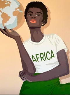 Africa on My Heart and the World in My Hands - Print of Black Woman in Green