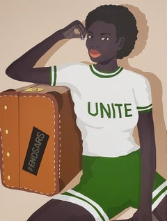 Child of No Nation -  Unite - Print of Black Woman in Green + White