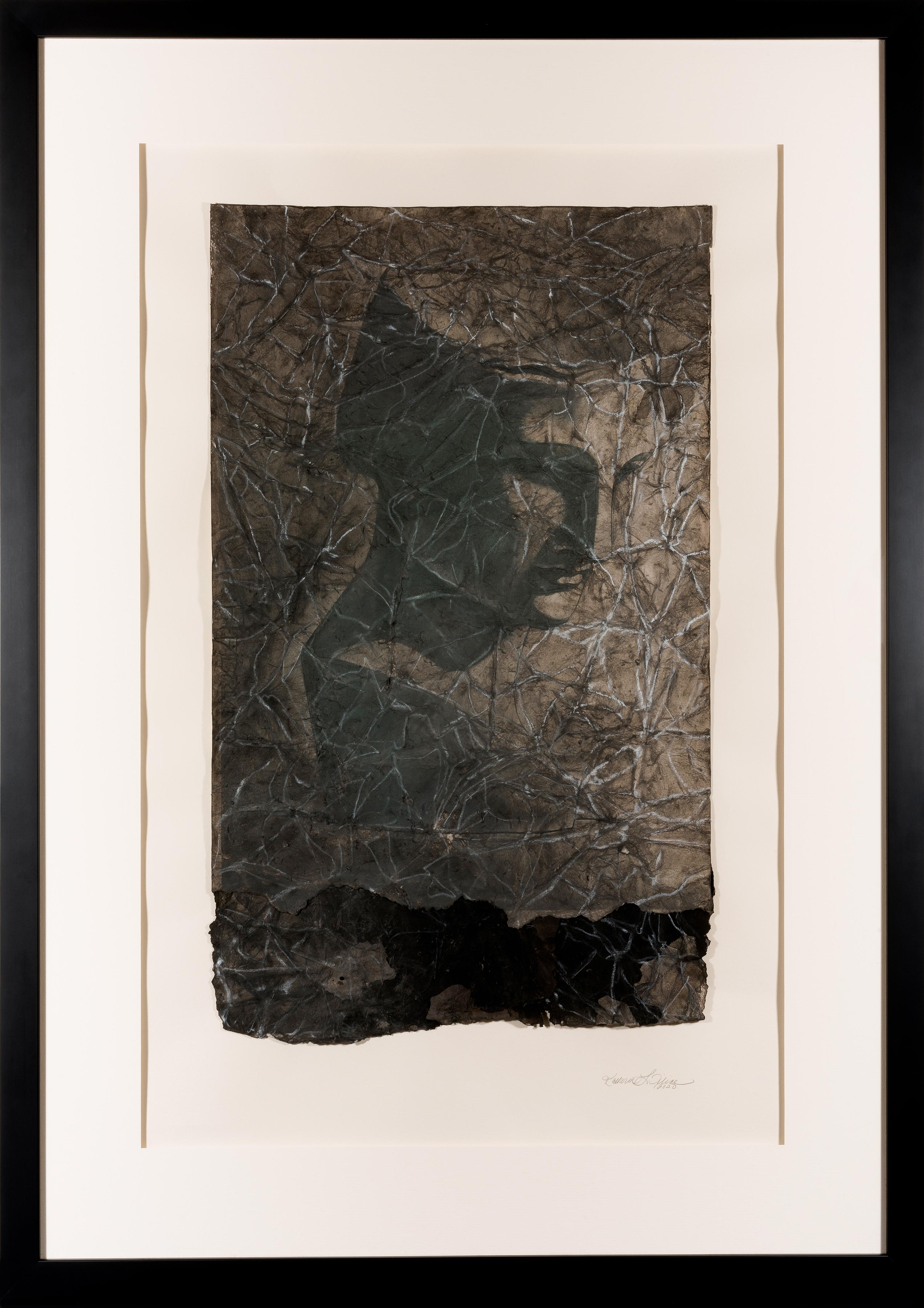 Unveiling II - Contemporary Work on Paper w/ Relief - Black + White