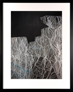 Fragments of Memory III - Contemporary Abstract Work on Paper Black, White Teal