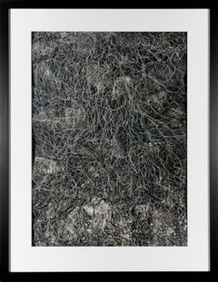 Fragments of Memory VI - Sculptural Contemporary Black + White Abstract on Paper