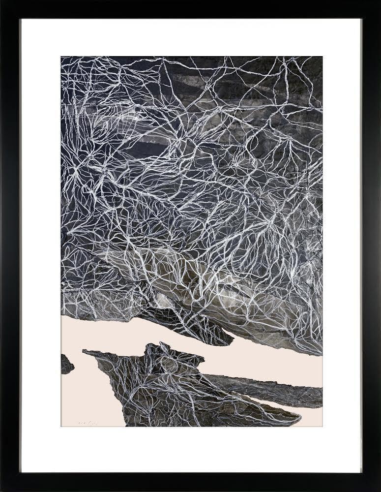 Dreamscape IV - Contemporary Abstract w/ Fabriano Paper + Sumi Ink, Black White