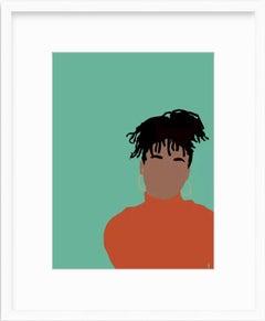 Real - Digital Illustration Black/Brown Figure w/ Dreadlocks Teal + Orange Frame