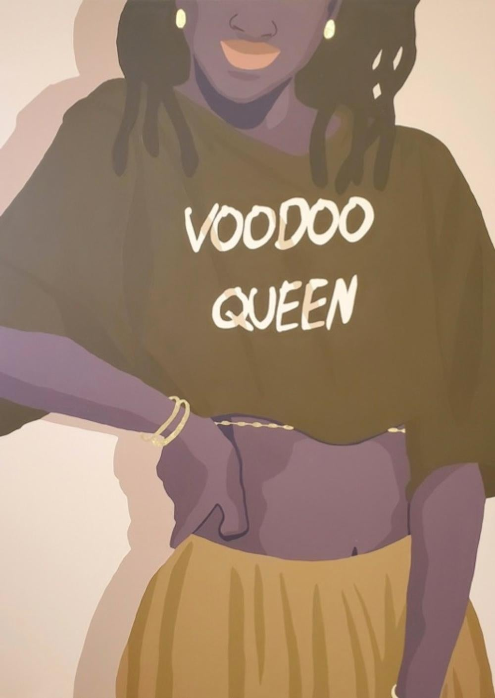 Voodoo Queen - Contemporary Painting in Tan + Gold by Nigerian American Artist