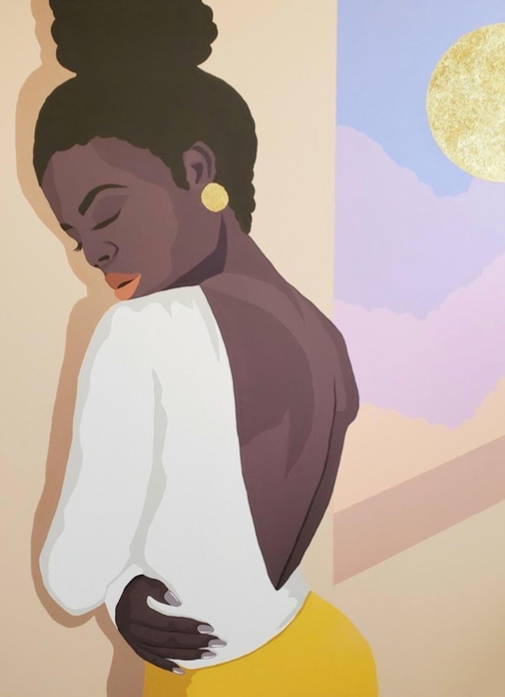Arms to Pray With - Contemporary Painting in Gold + Purple by Nigerian American