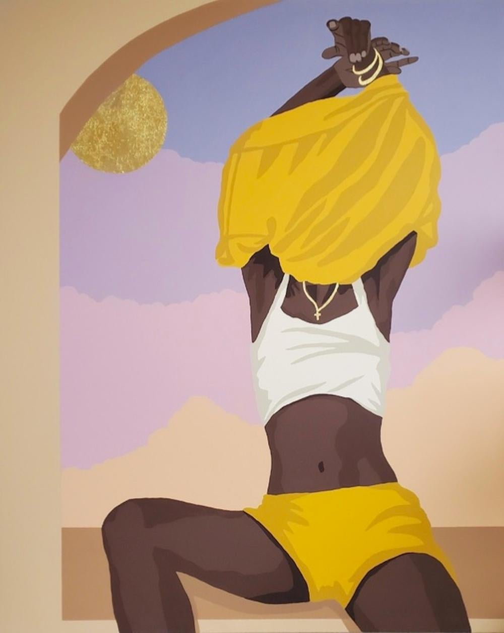 Wash You Off My Skin-Contemporary Painting, Yellow + Purple by Nigerian American