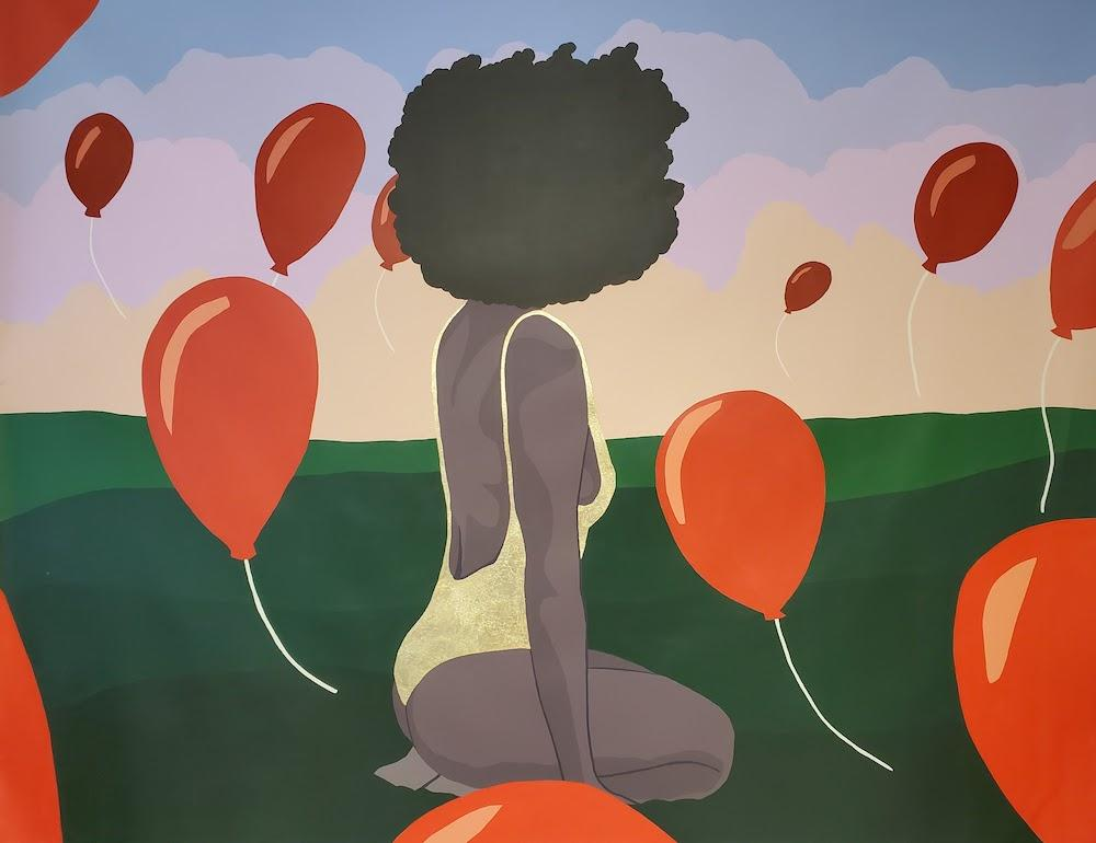 A Farewell to My Battle Scars - Contemporary Painting by Nigerian Artist (Red)