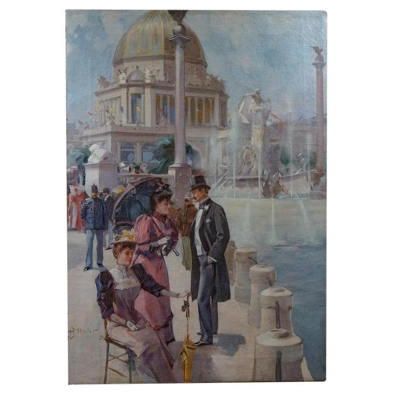 Period American Impressionist World Columbian Expositian Fair 0f 1893 - Painting by Hugh Ditzler