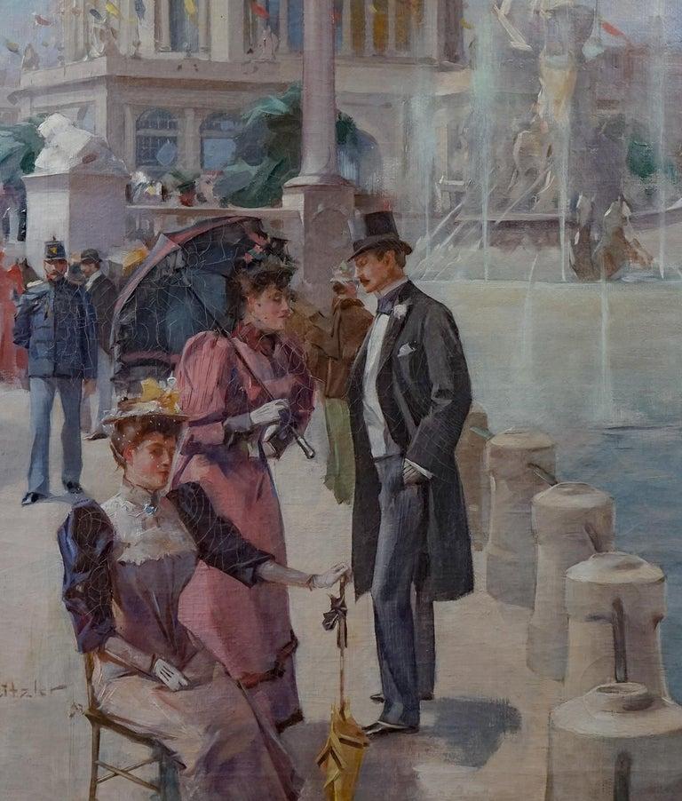 Period American Impressionist World Columbian Expositian Fair 0f 1893 - Gray Figurative Painting by Hugh Ditzler