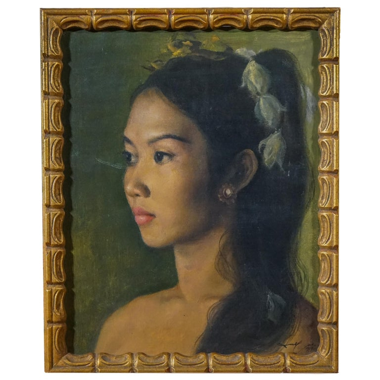 DULLAH Portrait Painting - Realist Balinese Indonesian Beauty Princess Portrait of a Girl