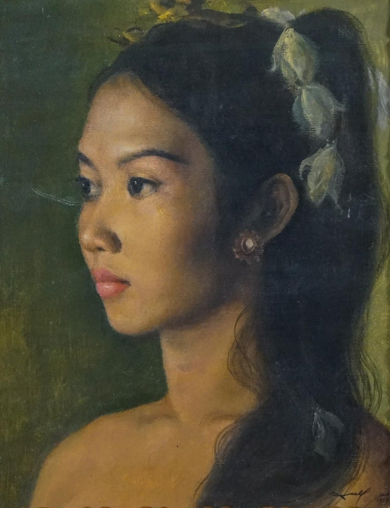 Realist Balinese Indonesian Beauty Princess Portrait of a Girl - Painting by DULLAH