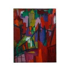 Female Modernist New York City Skyline MANHATTAN BRIDGE Abstract Oil Painting