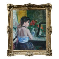 Large French Impressionist Semi Nude Lady with Black choker in Boudoir