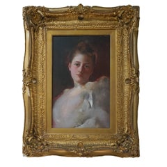 19th Century Impressionist Realist Portrait of a Woman w/ White Ribbon