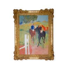 Modernist Jockey Riding Horses in Paddock